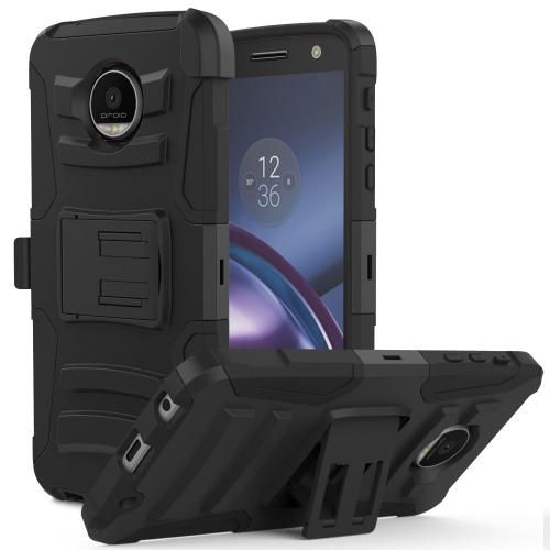[Motorola Moto Z Force] Holster Case,  REDshield [Black] Supreme Protection Hard Plastic on Silicone Skin Dual Layer Hybrid Case