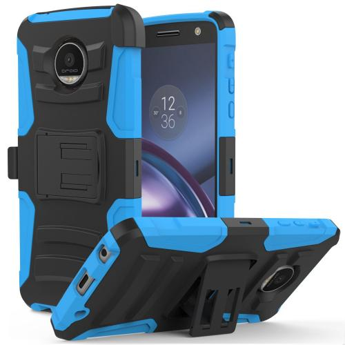 [Motorola Moto Z Force] Holster Case,  REDshield [Blue] Supreme Protection Hard Plastic on Silicone Skin Dual Layer Hybrid Case