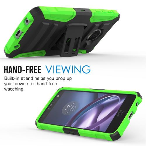 [Motorola Moto Z Force] Holster Case,  REDshield [Neon Green] Supreme Protection Hard Plastic on Silicone Skin Dual Layer Hybrid Case