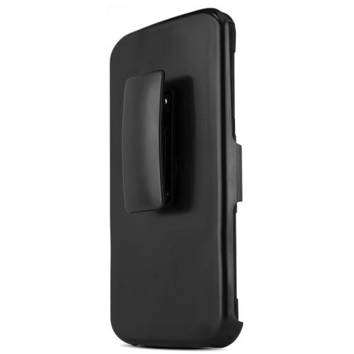Nexus 6 Dual Layer Case [Black on Black] Featuring Harden Polycarbonate Outter Layer with Kickstand on Silicone Skin + Heavy Duty Holster