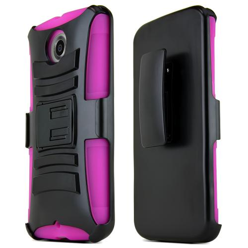 Motorola Nexus 6 Hybrid Case [hot Pink / Black] Heavy Duty Protective Dual Layer Rugged Bumper Hybrid Case