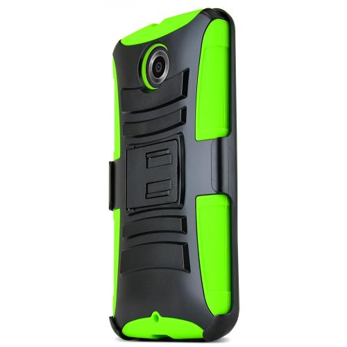 Nexus 6 Dual Layer Case [Black on Neon Green] Featuring Harden Polycarbonate Outter Layer with Kickstand on Silicone Skin + Heavy Duty Holster