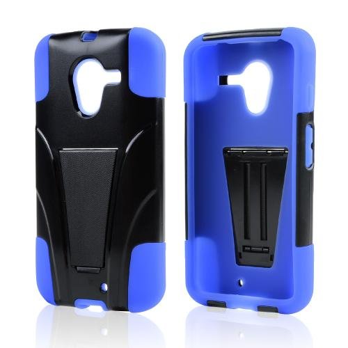 Black Hard Cover w/ Kickstand on Blue Silicone Skin Case for Motorola Moto X(2013 1st Gen)