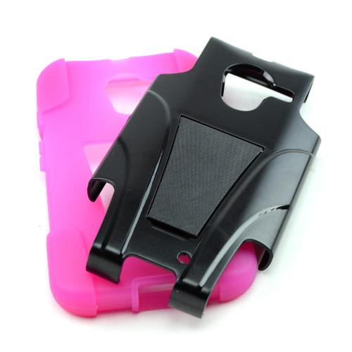 Black Hard Cover w/ Kickstand on Hot Pink Silicone Skin Case for Motorola Moto X(2013 1st Gen)