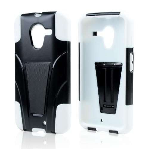 Black Hard Cover w/ Kickstand on White Silicone Skin Case for Motorola Moto X(2013 1st Gen)