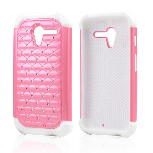 Baby Pink Hard Cover w/ Bling Over White Silicone Skin Case for Motorola Moto X(2013 1st Gen)