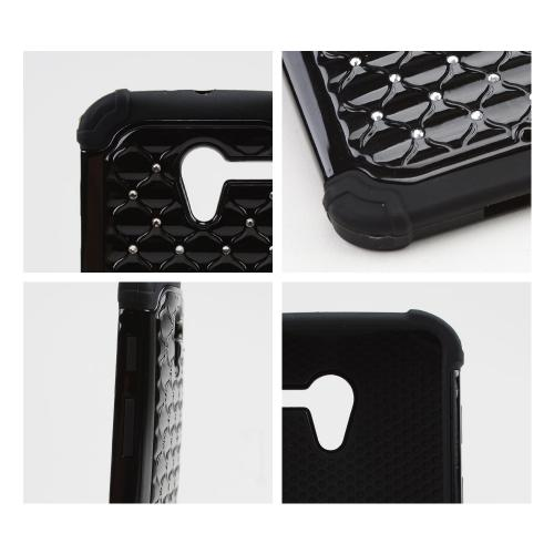 Black Hard Cover w/ Bling Over Black Silicone Skin Case for Motorola Moto X(2013 1st Gen)