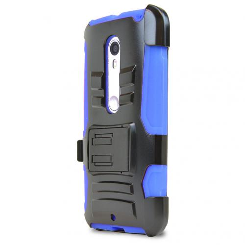 Motorola Moto X Pure Edition Holster Case, [Blue] Supreme Protection Plastic on Silicone Dual Layer Hybrid Case