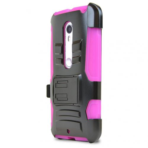 Motorola Moto X Pure Edition Holster Case, [Hot Pink] Supreme Protection Plastic on Silicone Dual Layer Hybrid Case