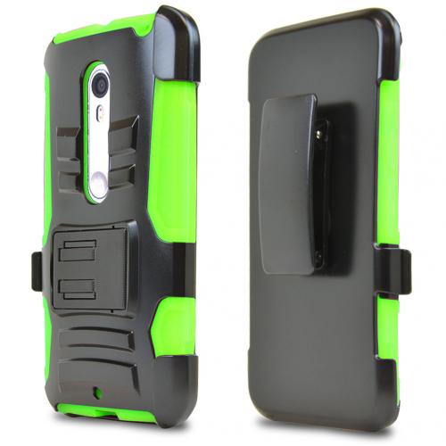 Motorola Moto X Pure Edition Holster Case, [Neon Green] Supreme Protection Plastic on Silicone Dual Layer Hybrid Case