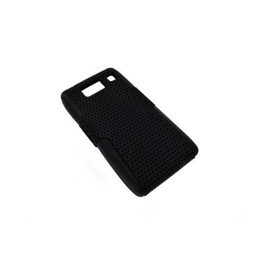 Motorola Droid RAZR HD Hard Back Case Cover on Silicone - Black Mesh on Black