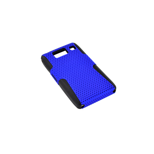 Motorola Droid RAZR HD Hard Back Case Cover on Silicone - Blue Mesh on Black