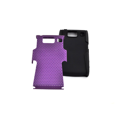 Motorola Droid RAZR HD Hard Back Case Cover on Silicone - Purple Mesh on Black