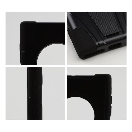 Black Hard Case w/ Kickstand on Black Silicone Skin Case for Nokia Lumia 1020