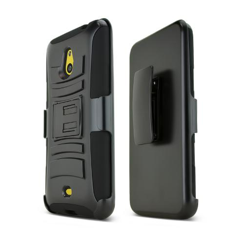 Black Nokia Lumia 1320 Hard Case w/ Kickstand on Black Silicone Skin Case w/ Holster - Great Protection!