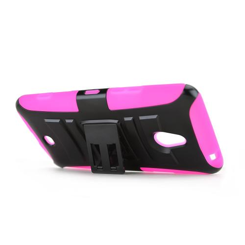 Black Nokia Lumia 1320 Hard Case w/ Kickstand on Hot Pink Silicone Skin Case w/ Holster - Great Protection!