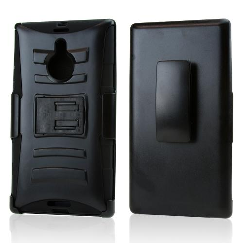Nokia Lumia® 1520 Hard Plastic on Silicone Skin Case with Kickstand Holster Combo [Black]
