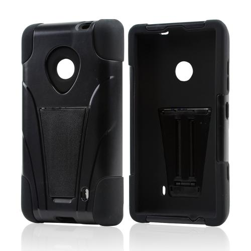 Black Hard Cover w/ Kickstand Over Black Silicone Skin Case for Nokia Lumia 521