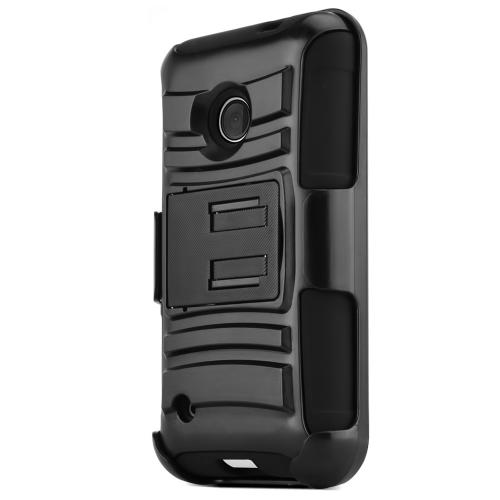 Nokia Lumia 530 Hybrid Case [black] Heavy Duty Protective Dual Layer Rugged Bumper Hybrid Case [Protection And Perfect Fiting Nokia Lumia 530 Case]