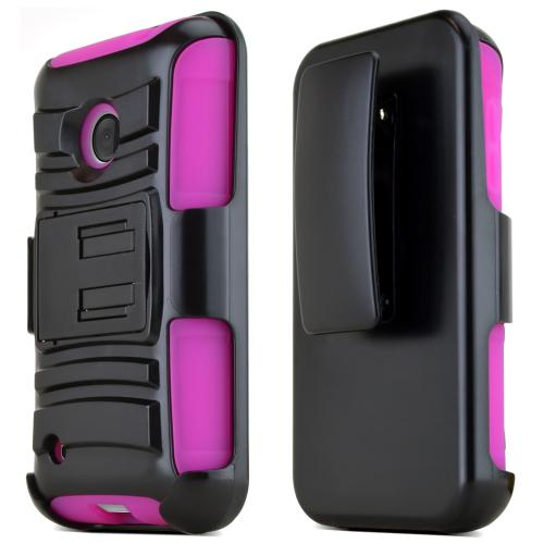 Nokia Lumia 530 Hybrid Case [black/hot Pink] Heavy Duty Protective Dual Layer Rugged Bumper Hybrid Case