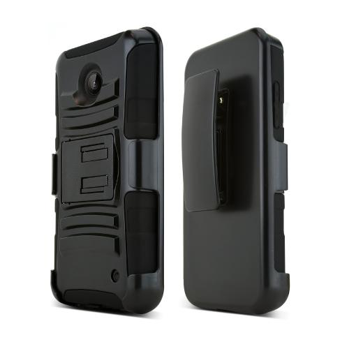 Black Nokia Lumia 635 Hard Case Cover w/ Kickstand on Black Silicone Skin Case w/ Holster
