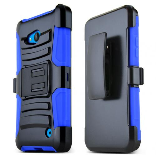 Blue Hard Plastic on Silicone Dual Layer Hybrid Case Cover Skin for Nokia Lumia 640