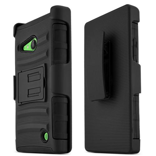 Lumia 735 Case, [Black] Supreme Protection Plastic on Silicone Dual Layer Hybrid Case for Nokia Lumia 735