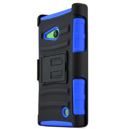 Lumia 735 Case, [Blue / Black] Supreme Protection Plastic on Silicone Dual Layer Hybrid Case for Nokia Lumia 735