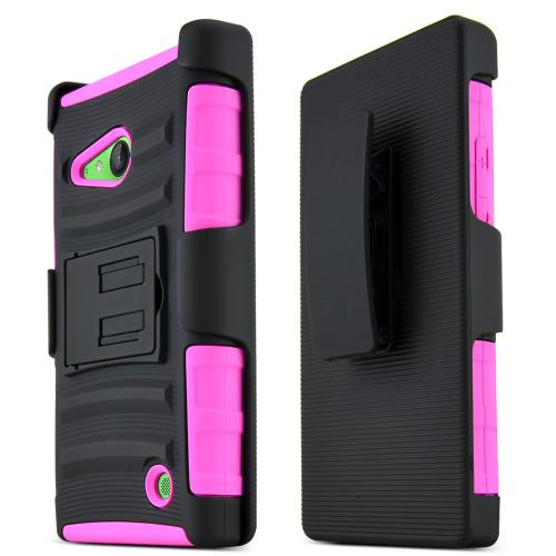 Lumia 735 Case, [Hot Pink / Black] Supreme Protection Plastic on Silicone Dual Layer Hybrid Case for Nokia Lumia 735