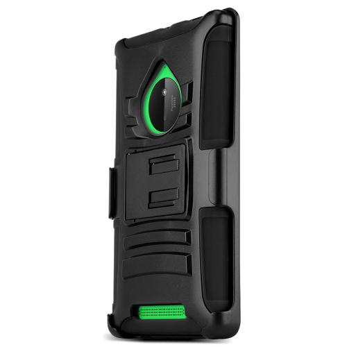 Nokia Lumia 830 Hybrid Case [black] Heavy Duty Protective Dual Layer Rugged Bumper Hybrid Case W/ Holster [Perfect Fiting Nokia Lumia 830 Case]
