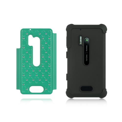 Aqua Hard Cover w/ Bling Over Black Silicone for Nokia Lumia 928