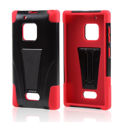 Black Hard Case w/ Kickstand on Red Silicone Skin Case for Nokia Lumia 928