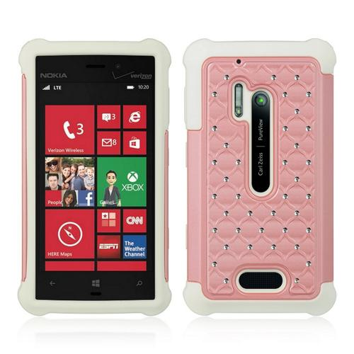 Baby Pink Hard Cover w/ Bling Over White Silicone for Nokia Lumia 928