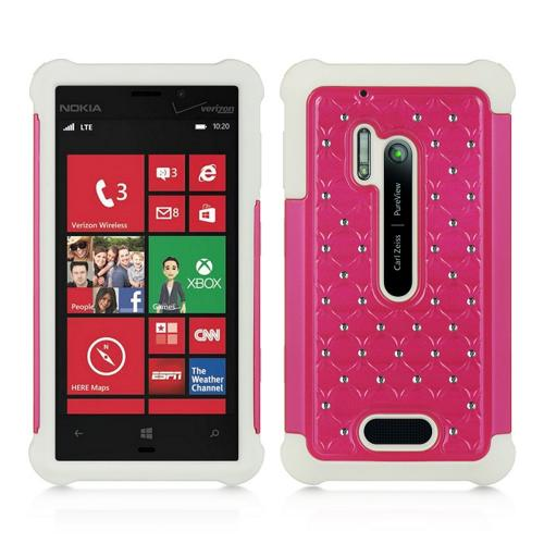 Hot Pink Hard Cover w/ Bling Over White Silicone for Nokia Lumia 928