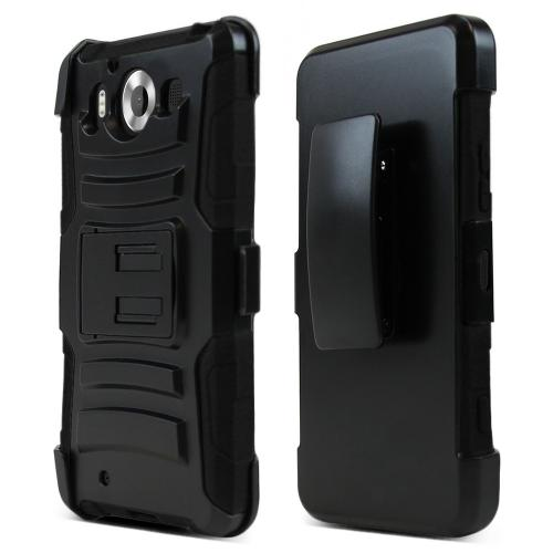 Microsoft Lumia 950 Holster Case, [Black] Supreme Protection Plastic on Silicone Dual Layer Hybrid Case