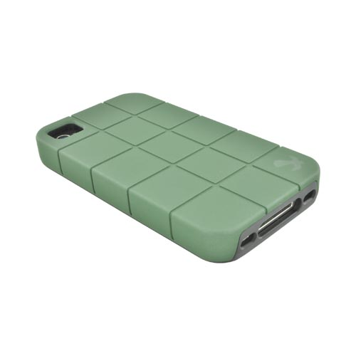 Premium Fusion Series AT&T/ Verizon Apple iPhone 4, iPhone 4S Turtle Shell Hard Cover Over Crystal Silicone Case - Army Green/ Black