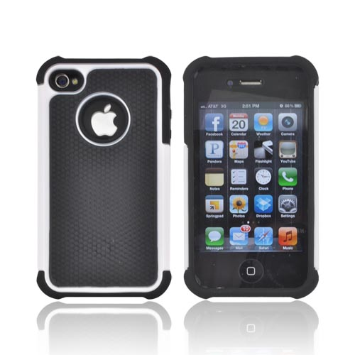 AT&T/ Verizon Apple iPhone 4, iPhone 4S Textured Hybrid Hard Cover Over Silicone Case - Black/ White