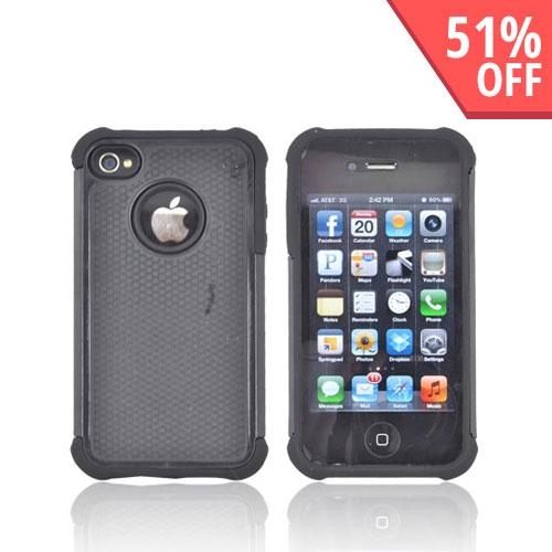 AT&T/ Verizon Apple iPhone 4, iPhone 4S Textured Hybrid Hard Cover Over Silicone Case - Black