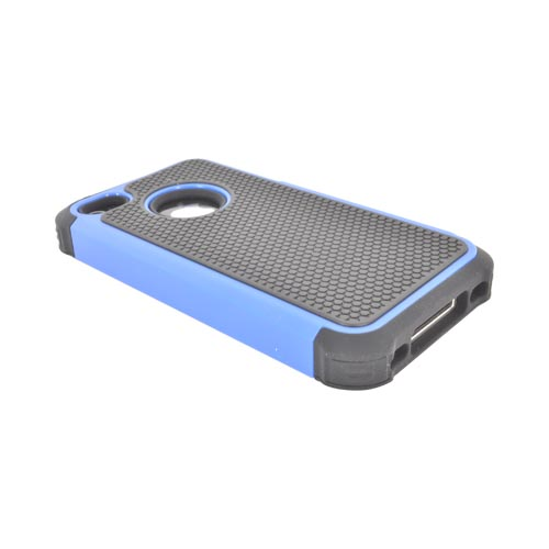 AT&T/ Verizon Apple iPhone 4, iPhone 4S Textured Hybrid Hard Cover Over Silicone Case - Blue/ Black