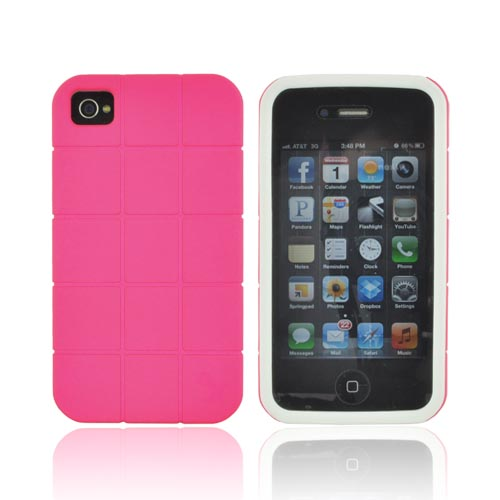 Premium Fusion Series AT&T/ Verizon Apple iPhone 4, iPhone 4S Turtle Shell Hard Cover Over Crystal Silicone Case - Hot Pink/ White