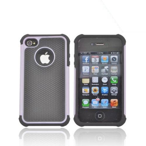 AT&T/ Verizon Apple iPhone 4, iPhone 4S Textured Hybrid Hard Cover Over Silicone Case - Light Purple/ Black