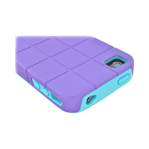 Premium Fusion Series AT&T/ Verizon Apple iPhone 4, iPhone 4S Turtle Shell Hard Cover Over Crystal Silicone Case - Purple/ Turquoise