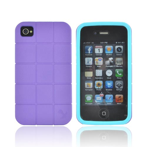 Apple iPhone 4 / 4S Heavy Duty Case, [Purple/ Turquoise] Turtle Shell Premium Fusion Series Hard Cover Over Crystal Silicone Case