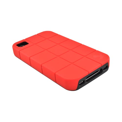 Premium Fusion Series AT&T/ Verizon Apple iPhone 4, iPhone 4S Turtle Shell Hard Cover Over Crystal Silicone Case - Red/ Black