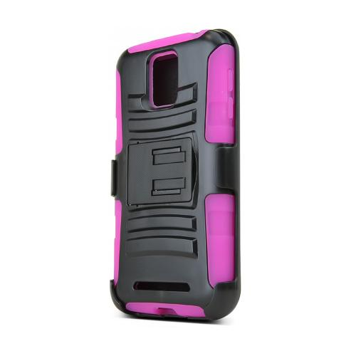 Black Samsung ATIV SE Hard Case w/ Kickstand on Hot Pink Silicone Skin Case w/ Holster
