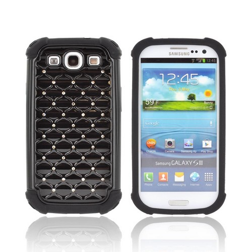 Samsung Galaxy S3 Hard Cover Over Silicone Case w/ Bling - Black w/ Silver Gems