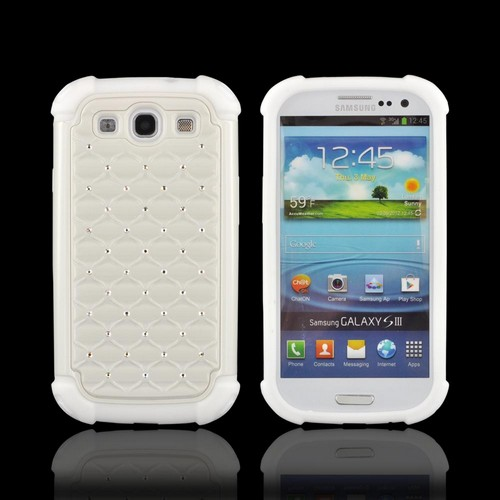 Samsung Galaxy S3 Hard Cover Over Silicone Case w/ Bling - White w/ Silver Gems
