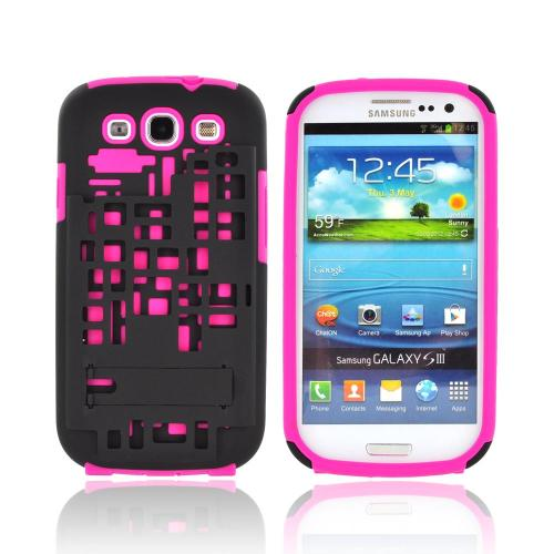 Samsung Galaxy S3 Hard Case Over Silicone w/ Kickstand & ID Slot - Hot Pink/ Black Digital Cube Design