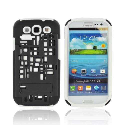 Samsung Galaxy S3 Hard Case Over Silicone w/ Kickstand & ID Slot - White/ Black Digital Cube Design