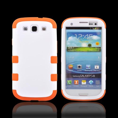 Samsung Galaxy S3 Rubberized Hard Case Over Silicone Case - White/ Orange
